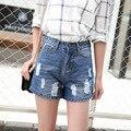 2016 novo verão Coreano calças de brim das mulheres por atacado personalidade buraco fino shorts jeans feminino