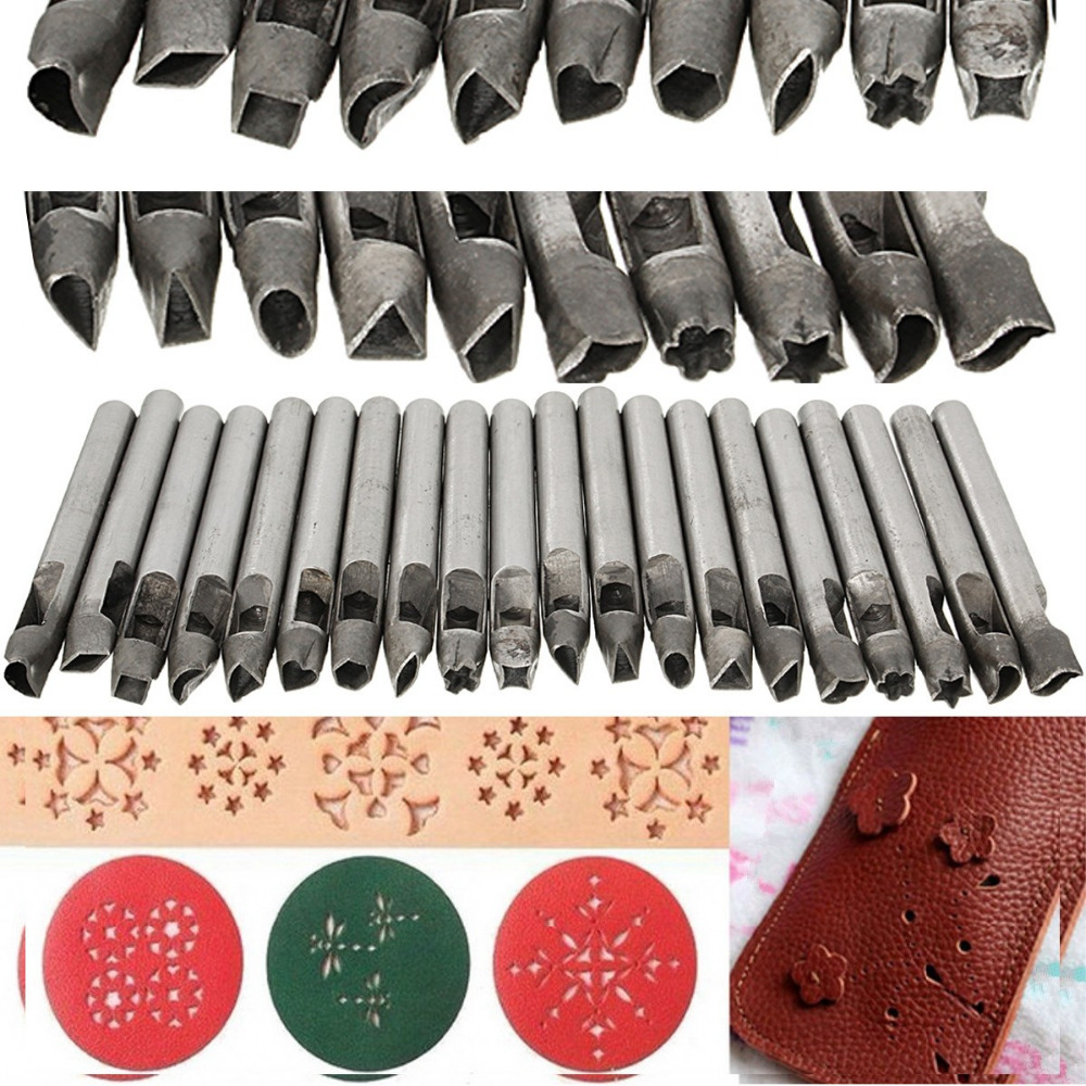 Buy 20 styles 6mm diy shaped hole hollow for Leather shapes for crafts