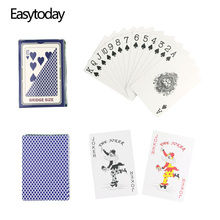 Easytoday 1Pcs/Set Waterproof Plastic Playing Poker Cards Set Red And Blue Baccarat Texas Hold'em PVC Poker Entertainment Games easytoday 1pcs set new classic poker baccarat texas holdem waterproof frosting plastic playing cards entertainment games