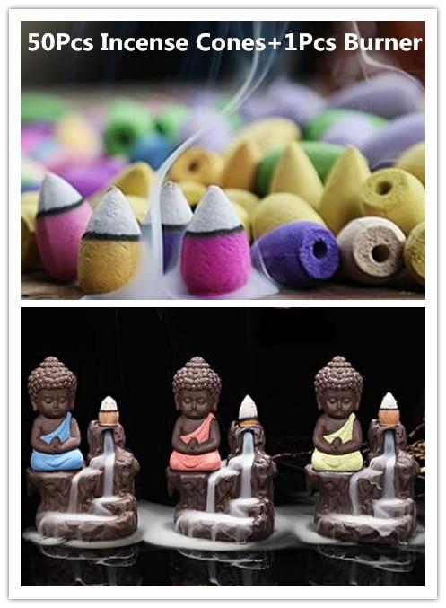 50 Unid conos de incienso + quemador Creative Decoración para el hogar el pequeño monje Pequeño Buda censer backflow quemador de incienso uso en el hogar casa de Té