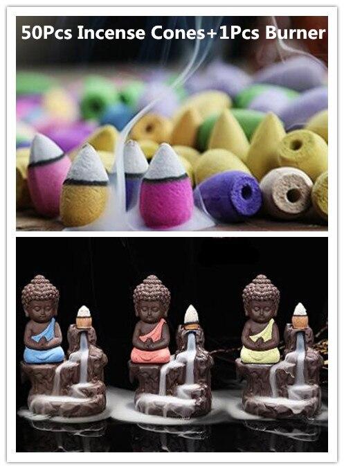 50 pz incenso coni + bruciatore creativa complementi arredo casa il piccolo monaco Piccolo Bruciatore di Incenso Buddha Censer Riflusso Uso In Casa sala da tè