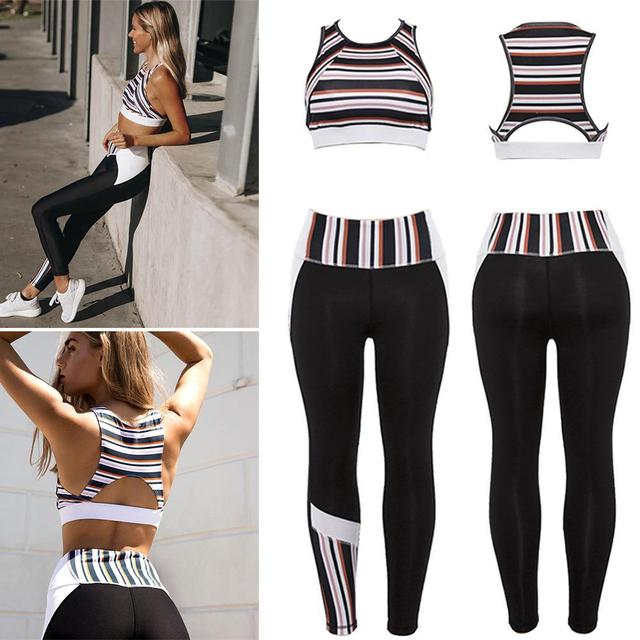 2PCS Strips Stitching Yoga Set with Fitted Leggings