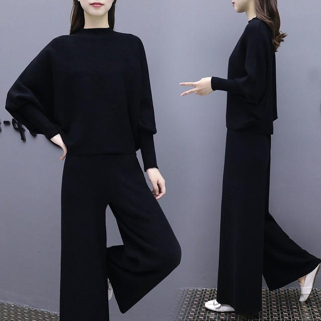 fa759fa4dcc Black Knitting Sweat Suits Women 2019 Autumn Winter Fashion Two Piece Set  Batwing Sleeve Sweater Tops And Wide Leg Pant Suit