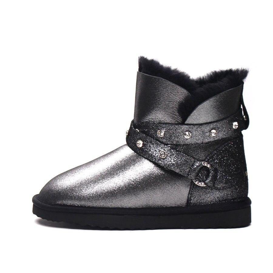 Moda Cuero Piel Genuino Black Oveja Botas Natural Invierno Para Calidad Nieve De Tobillo Lana Zapatos Mujer Superior Nuevo qIwwRt