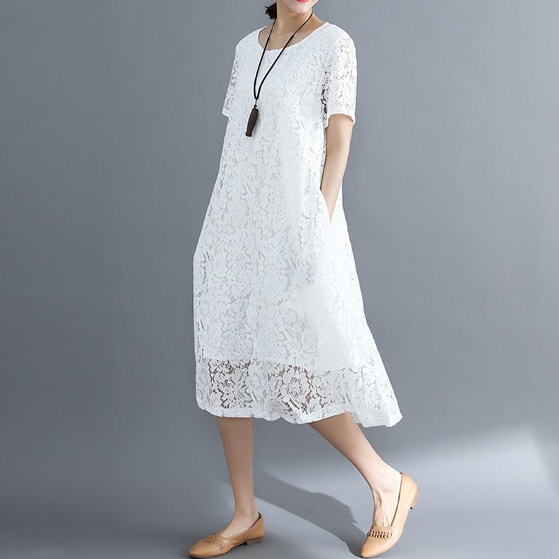 Vestido de verão Das Mulheres do vintage 2020 ocasional branco solto A-Line Vestidos elegante lace Oco Out Moda preto senhoras vestido vermelho