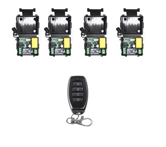 AC 220V 220 V 1CH RF Wireless Remote Control Switch 433MHz 4 Receivers + 4 Transmitters For led lamp