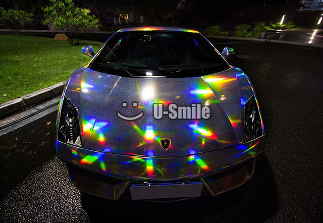 Premium 3 Layers Rainbow Chrome Silver Holographic Vinyl Wrap Decal