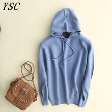 YUNSHUCLOSET 2018 Autumn&winter Hot Sales Women Cashmere pullovers Caps collar Keep warm Solid color long sleeve pullovers(China)