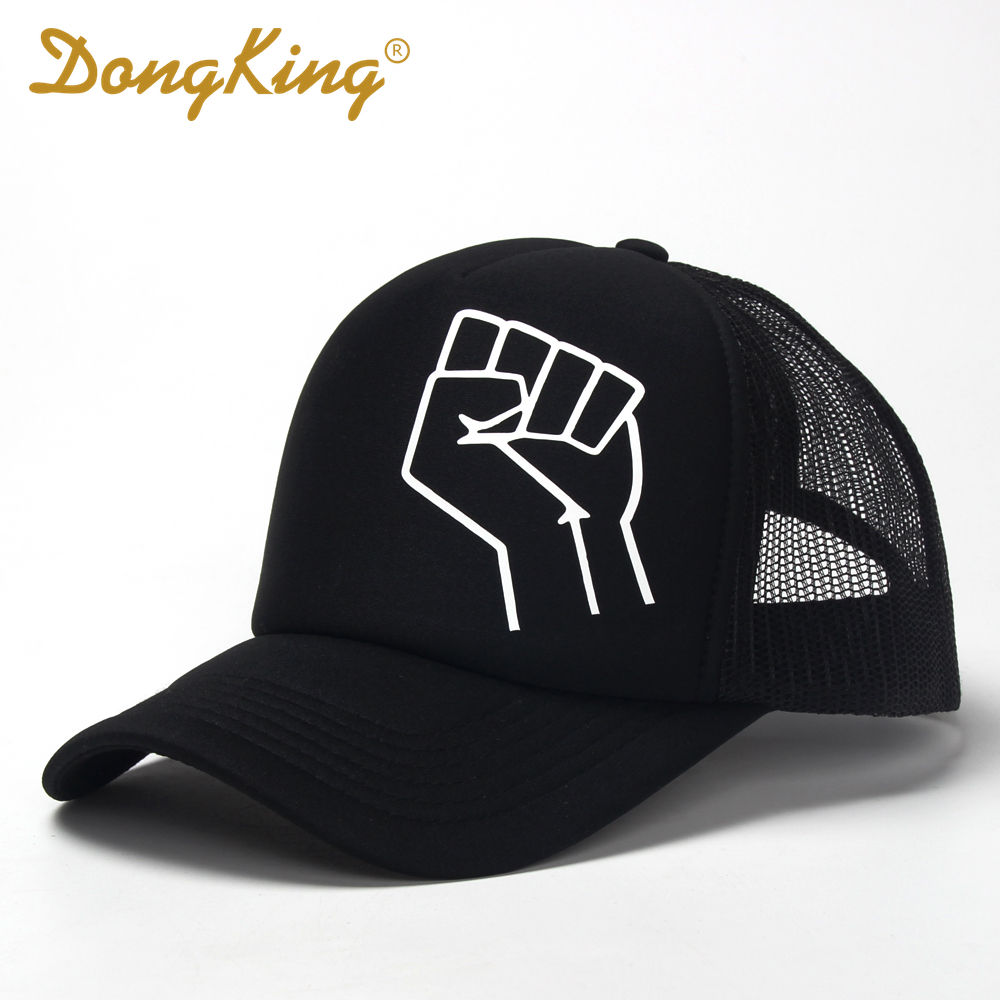 DongKing Power Black Raised Protest Fist Trucker Hat Mesh Cap Print Fist Snapback Men Women Adult