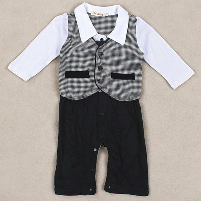 Newborn Baby Rompers Cotton Gentleman Infant Boys Clothes Tie Bow  Kids One-Pieces Jumpsuits for 0-18M new 2016 autumn winter kids jumpsuits newborn baby clothes infant hooded cotton rompers baby boys striped monkey coveralls