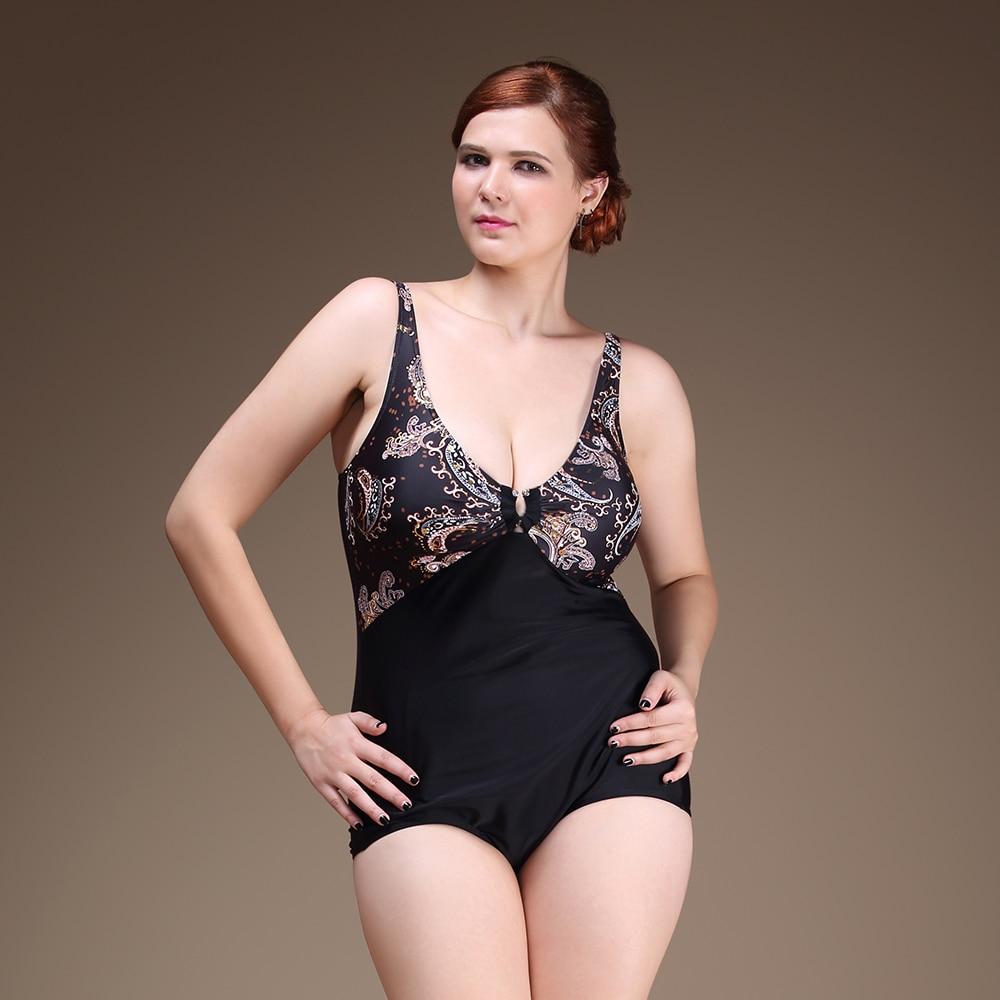 ФОТО Plus Size One Piece Woman Swimsuit Big Size Sexy V Shape Neck Line Bathing Suit Printed Top Design Swimwear Big Breast Design