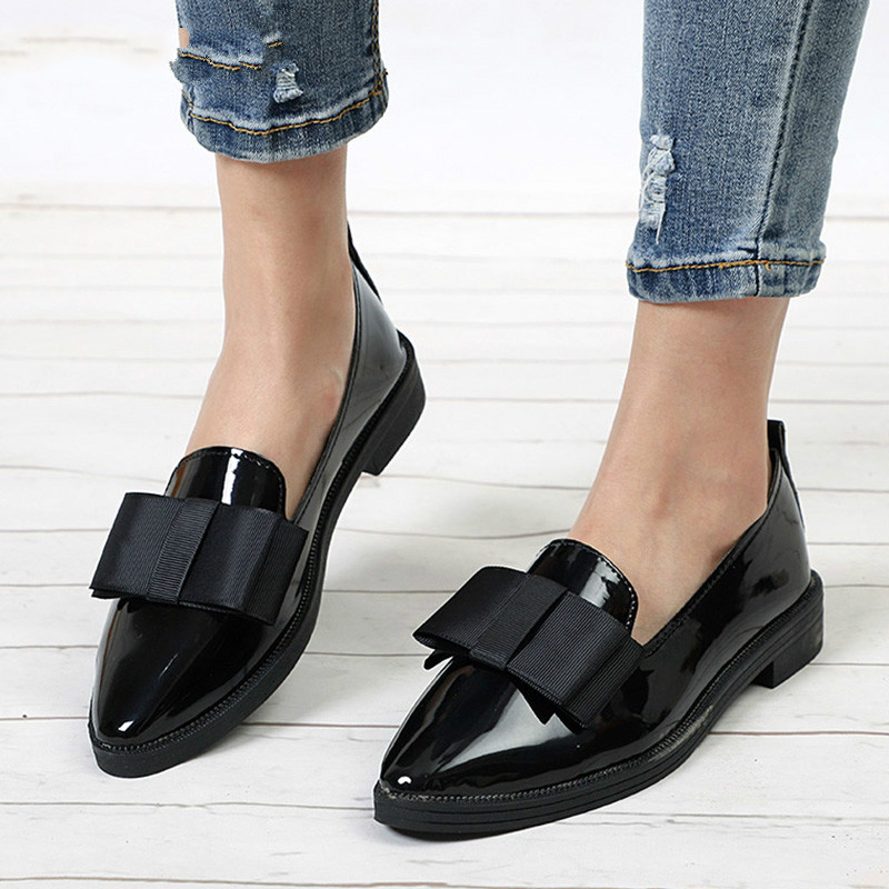 LZJ 2019 Autumn Flats Women Shoes Bowtie Loafers Patent Leather Elegant Low Heels Slip On Footwear Female Pointed Toe Thick Heel