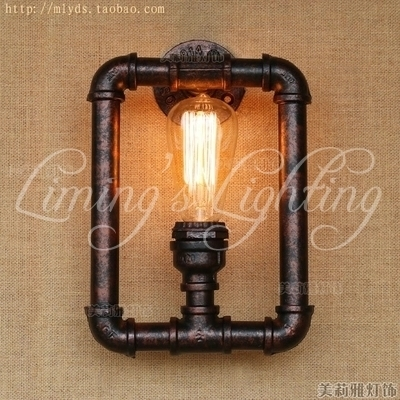 Loft Style Metal Water Pipe Lamp Industrial Vintage Wall Light Fixtures For Home Edison Wall Sconce Indoor Lighting|wall light fixture|vintage wall light|pipe lamp - title=