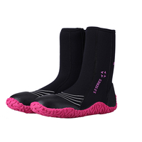 Dive Sail Adult Women High Boots Non Slip Diving Shoes Black Color 5mm Surf Beach Diving
