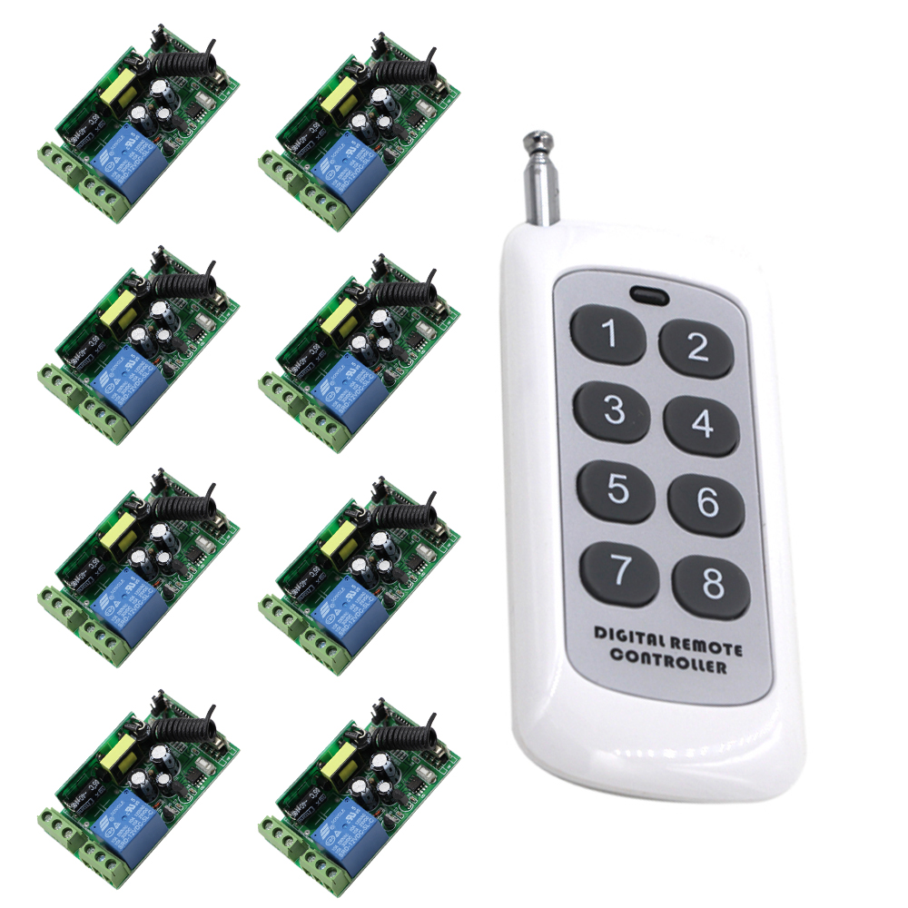 High Quality AC 85V 110V 120V 220V 250V RF Wireless Remote Control ON OFF Switch 1 Digital Remote Controller and 8 Receivers small relays wireless rc switch button signal line on off dc3 7 5v 12v controller remote control module