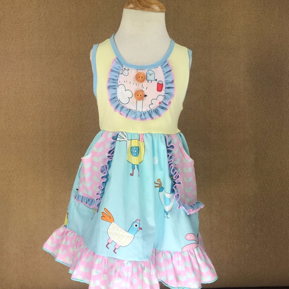 Cotton Baby Girls dress Summer floral Flower Sleeveless Infants and toddler Kids ruffled dresses for kids cute princess dress