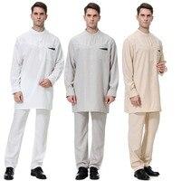 Islamic Men Thobe Thawb Caftan Suit Muslim Arab Sets Abaya Jilbab Moslem Pants Robes Eid Worship Service Middle East Ramadan