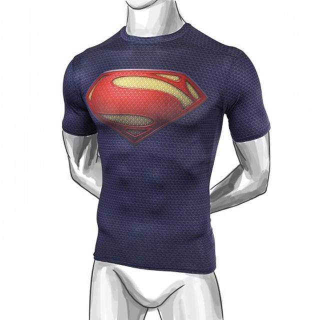 Supple sentido gelo besta de aço dos homens de compressão camisa superman  batman homem 3e541aa913a6b