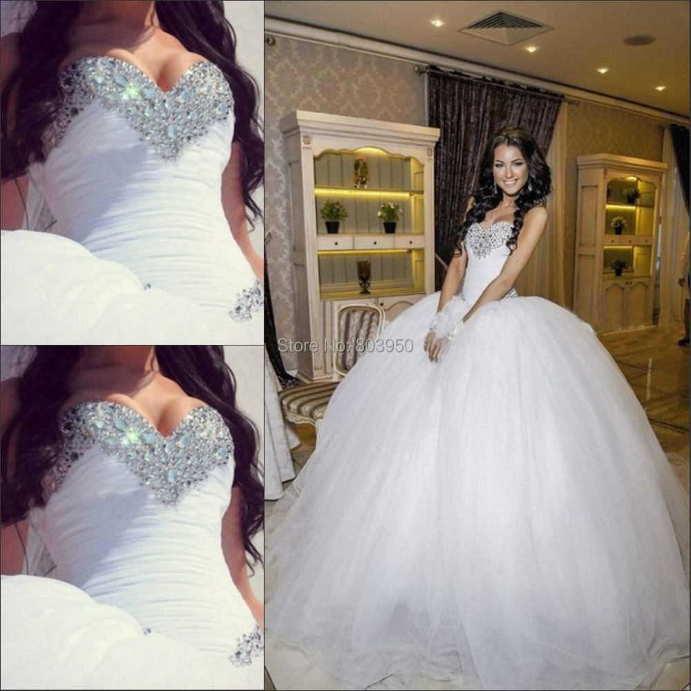 Ball Gown Wedding Dresses wedding dresses ball gown Sweetheart Pleated Beaded White Ball Gown Wedding Dress