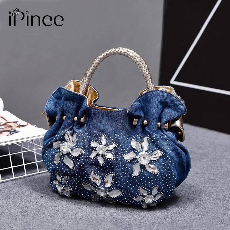 iPinee 2018 mujer bolsos de mezclilla bolsos Vintage lujo Rhinestone bolsas de hombro pequeñas bolsas de las mujeres Jean Bolsas Femininas para mujeres
