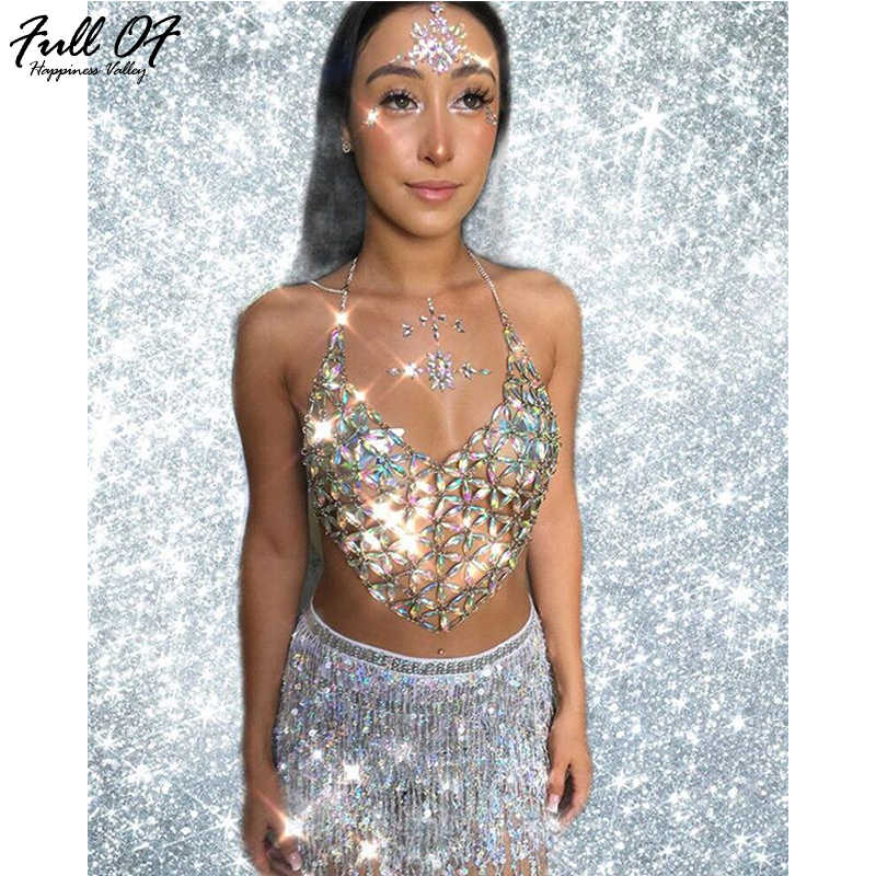 26a0c01251518 Sexy Bling Chest chain Crop Tops Women Summer Beach Queen Sequins Halter  Colorful Sparkling Nightclub Party