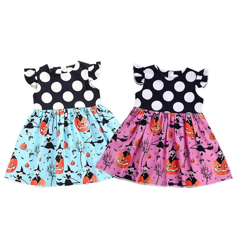 все цены на 2-6T Toddler Kids Baby Girl Halloween Dress Sleeveless Polka Dot Pumpkin Print Patchwork Princess Girls Holiday Party Costume