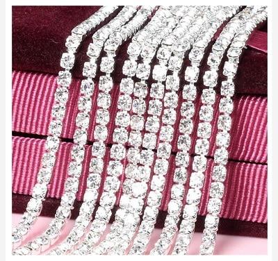 1 ярд/шт, 30 цветов, стеклянные хрустальные стразы на цепочке, Серебряное дно, Пришивные цепочки для рукоделия, украшения сумок для одежды - Цвет: White