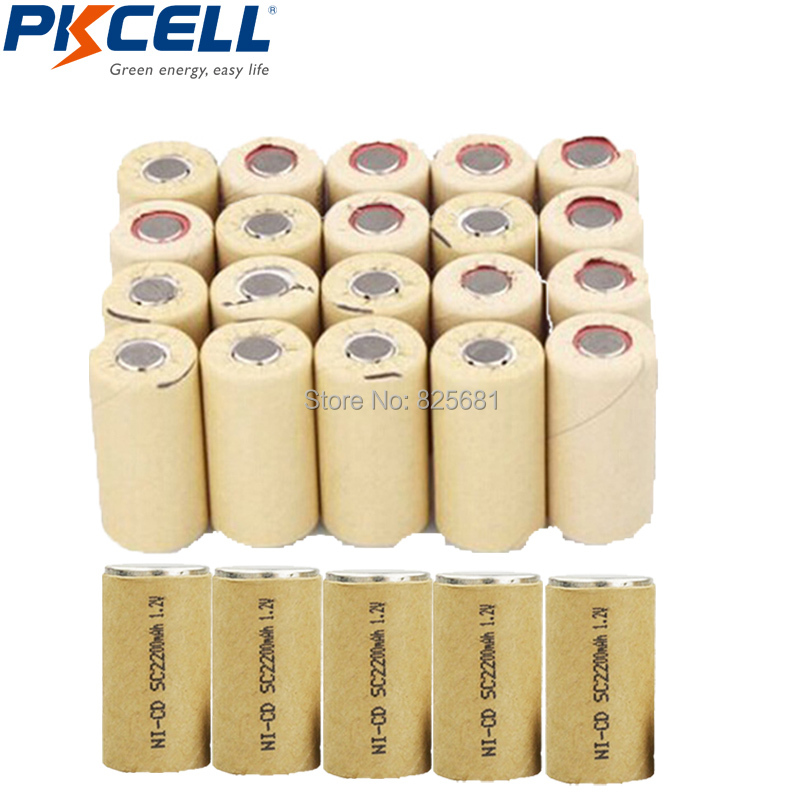 25Pcs SubC SC 2200mAh 2 2AH NiCd 1 2V Rechargeable Battery Flat Top 10C High Drain