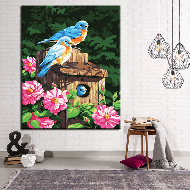 DIY Pictures Drawing Coloring On Canvas By Hand Birds Animal Oil Paint Painting By Numbers Framework Wall Modular Paints Artwork