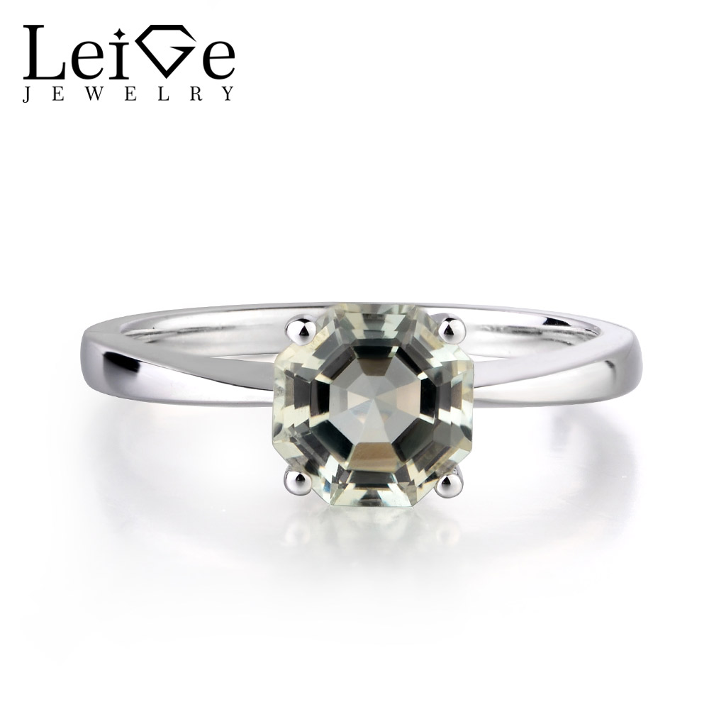 Leige Jewelry Green Amethyst Fine Jewelry Octagon Cut Solitaire Engagement Rings For Woman 925 Sterling Silver