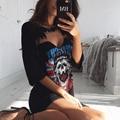 Print t shirt Dress Punk Rock Style 2017 New Summer Women Casual Mini Gray Dress Sexy Black V Neck Short Party Dresses vestidos