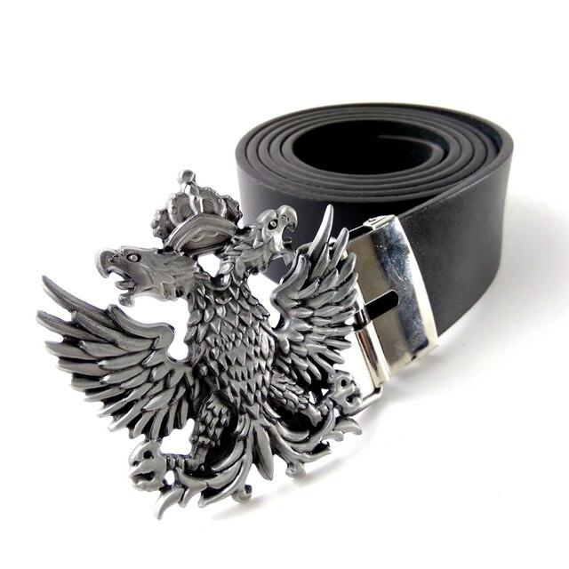 5c82be4a3 Fashion Black faux Leather belt men with Russian double-headed eagle logo  metal western Belt
