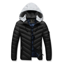 MORUANCLE Mens Casual Hooded Thick Warm Jackets And Coats With Detachable Hood Winter Thermal Parkas For Male High Quality