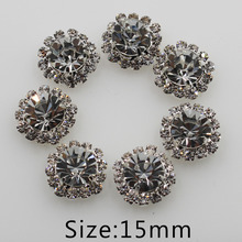 50pc silver 15mm Rhinestone Button Flatback Bling Jewelry Accessory Wedding Party Supply Flower hair flower center scrapbooking