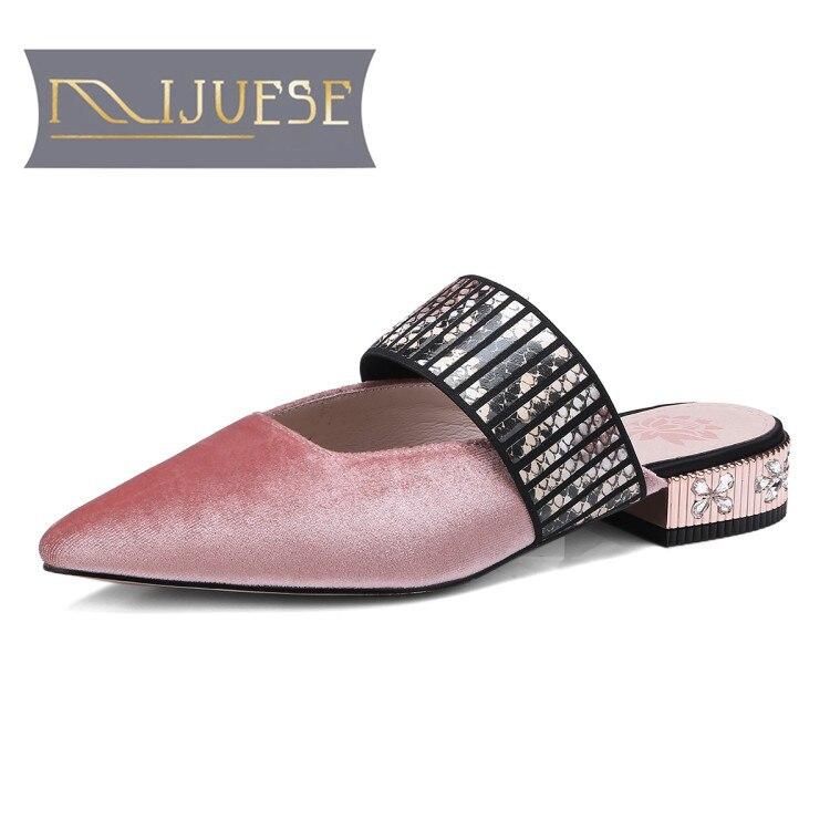 MLJUESE 2018 женские тапочки Летний стиль MaryJanes без шнуровки с острым носком со стразами каблук розовый цвет Сандалии-шлепанцы женщин размер 34-39