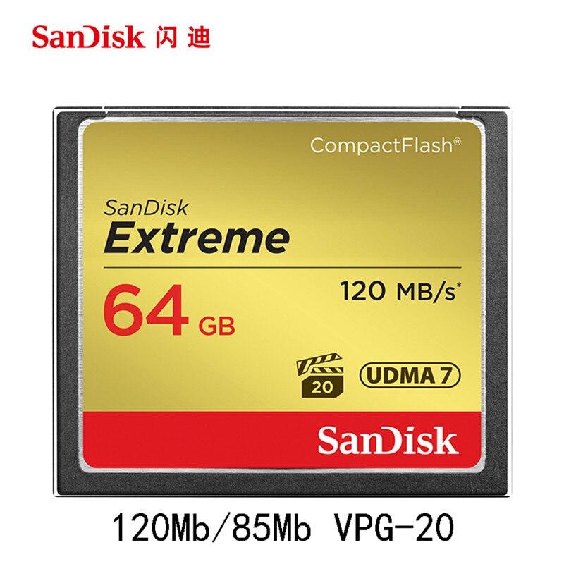 Sandisk D'origine Extreme Compactflash Mémoire CF Carte Ld jusqu'à 120 MB/s Vitesse de lecture pour riche 4 K et Full HD vidéo Cartao De mémorisation