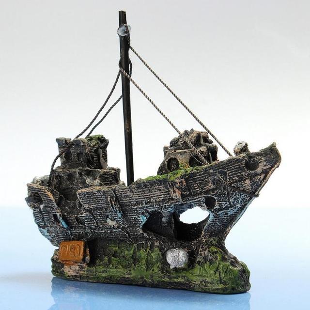 11CM*5CM*13CM Resin Material Beautiful Aquarium Ornament Wreck Sailing Boat Sunk Ship Destroyer Fish Tank Aquarium Decoration
