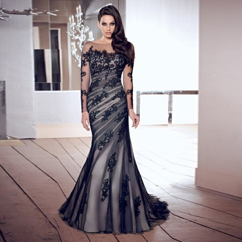 elegant long black evening dress robe mermaid prom dresses
