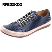 Flats High Quality Blue Men British Style Brogue Wingtip Breathable Hollow Out Shoes 2017 Vintage Burgundy