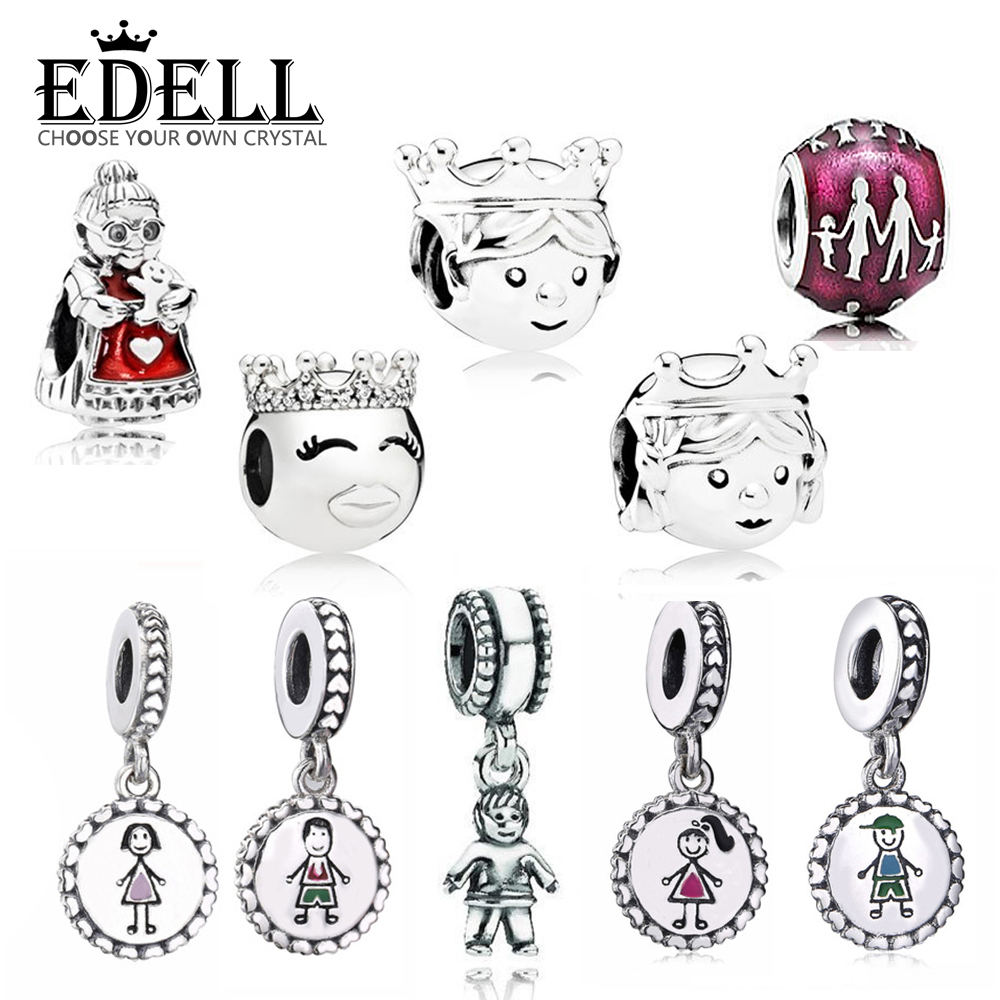 EDELL 100% 925 Sterling Silver 1:1 Charm Original Warm Family Kind Grandmother Princess And Prince Boy Girl Beaded Pendant