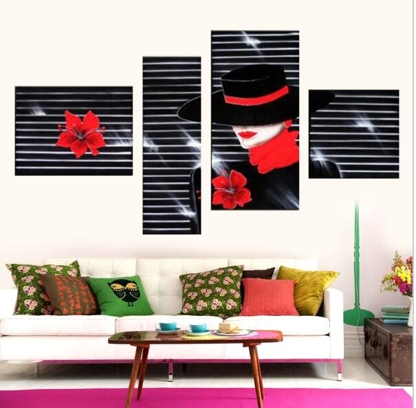 Handmade Black White And Red Wall Art Modern Home