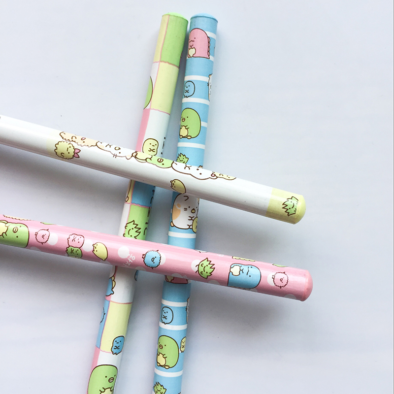 N43 4X Cute Sumikko Gurashi Standard Pencil School Office Supply Student Stationery Writing Drawing Kids Gift 12pcs candy color cute pencil hb 2b school stationery store student kids triangle graphite drawing sketch wood pen office supply