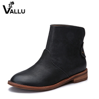 2016 Autumn Winter Women Boots Genuine Leather Flat Heels Vintage Style Handmade Shoes Anke Boots