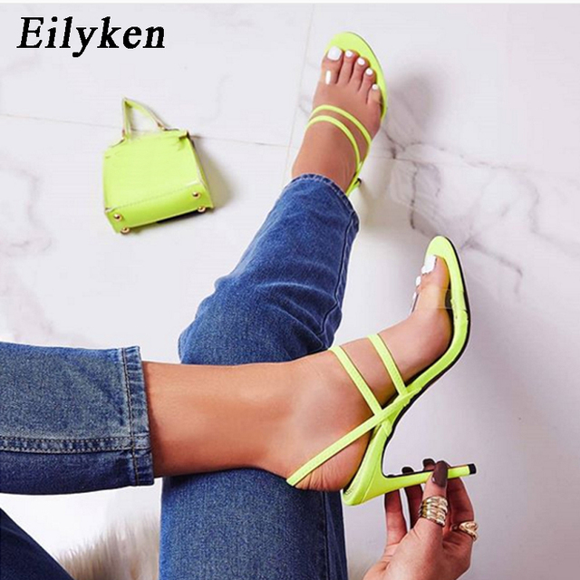 Eilyken Fluorescent Green High Heels PVC Sandals Straps Back Strap Summer Shoes Gladiator Sexy Stiletto Sandals Women shoes