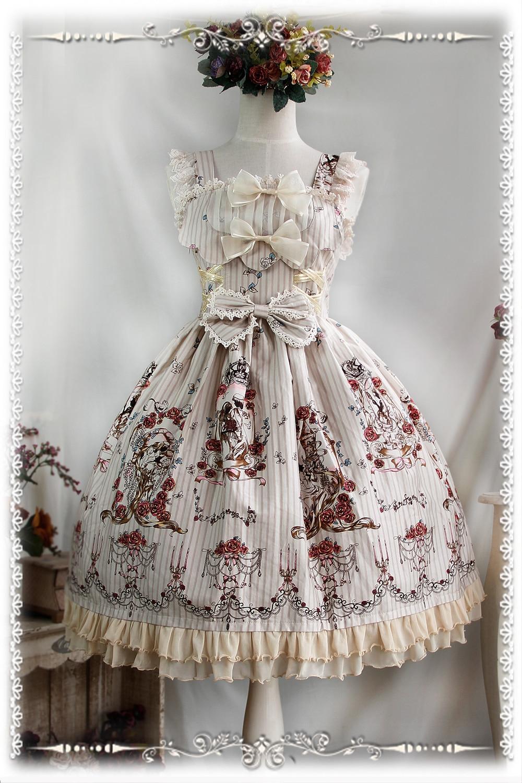 2016 Lolita Original imprimé Floral coton doux Lolita robe victorienne Tangeld JSK robe de soirée bleu/rouge/Beige - 3