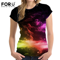 FORUDESIGNS Fashion 3D Galaxy Women Tops T Shirt Summer Short Sleeved Shirts Tees Top Slim Bodybuilding Fitness Clothes Camisas