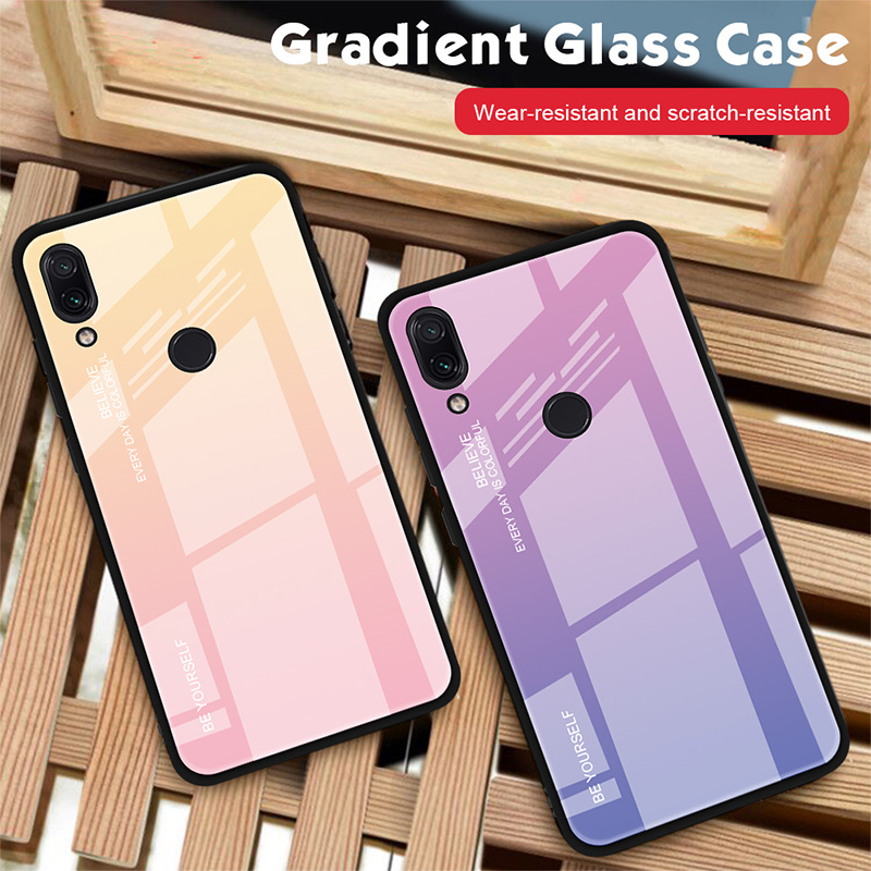 HTB1T1FFXkL0gK0jSZFxq6xWHVXan - Tempered Glass Case for Xiaomi Redmi Note 7 6 K20 Pro Glossy Stained Gradient Colorful Case for Redmi 7 6A 6 Pro 5 Plus