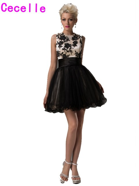 Real Short Homecoming Dresses Black Nude A line Sleeveless Two Tones ...