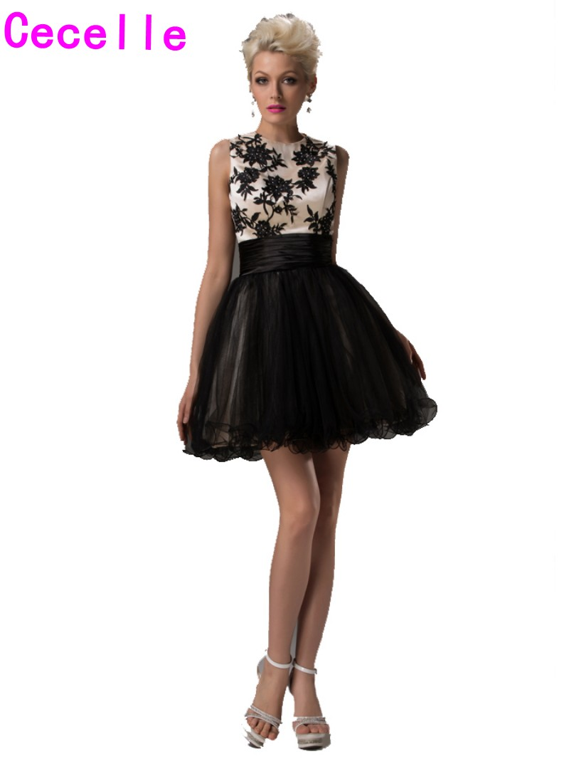 zaavip.comimagesize: Real Short Homecoming Dresses Black Nude A-line Sleeveless Two Tones Tulle  2017 Homecoming Cocktail