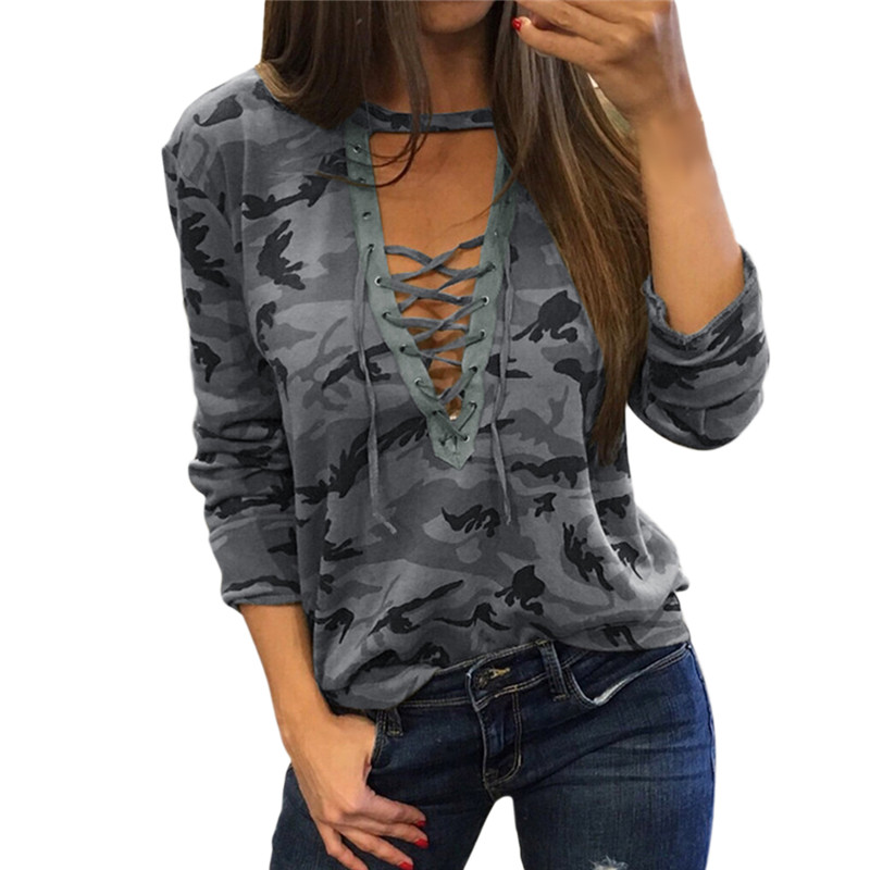 Gray Camouflage Shirts Sexy Deep V-neck Lace Up Long Sleeve Women Tops Hollow Out Blouses Spring 2019 Bandage Shirt Blusas Mujer